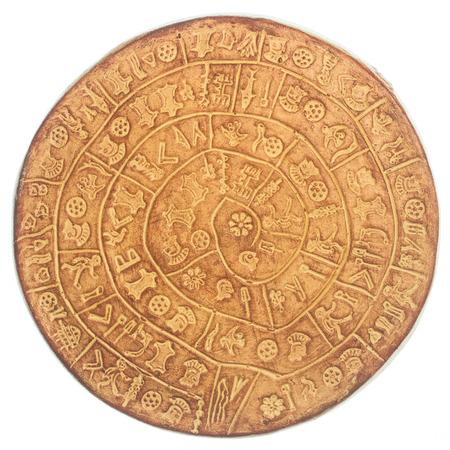decipher: phaistos disc, an artefact discovered at the minoan site of Phaistos, Crete - Greece