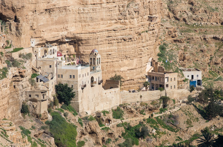west bank: the hanging monastery of st george, west bank, israel