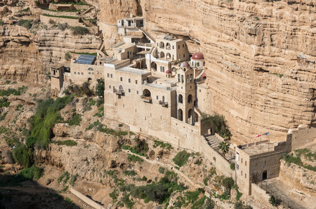 the hanging monastery of st george, west bank, israel photo
