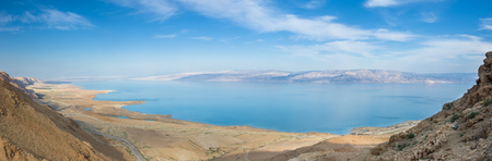 judean desert: view of the Dead Sea from the Judean desert, west bank - Israel Stock Photo