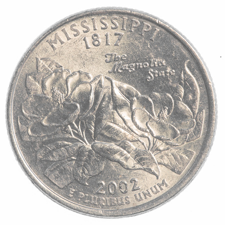 25 cents: Mississippi state quarter coin isolated on white background