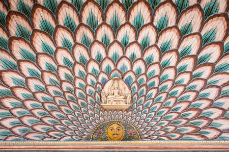 jaipur: wall paintings at Jaipur City Palace, Rajasthan - India