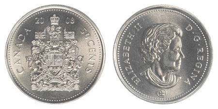 canadian coin: TORONTO, CANADA - APRIL 17, 2015: 50 canadian cents coin Stock Photo