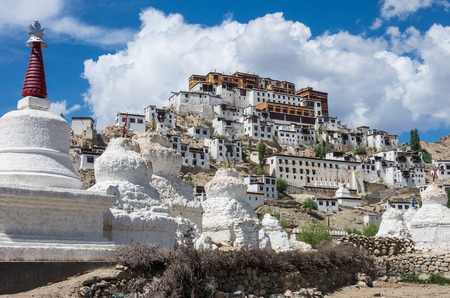 gompa: ancient Thiksey Monastery (Thiksey Gompa) in Ladakh, India. Stock Photo