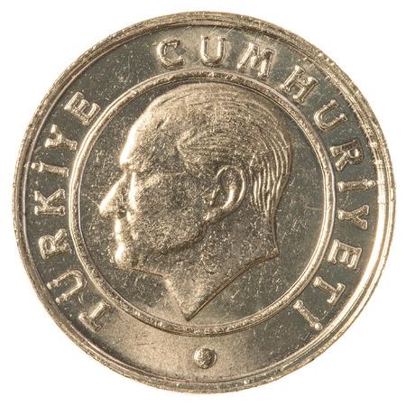 tl: 5 turkish kurus coin isolated on white background