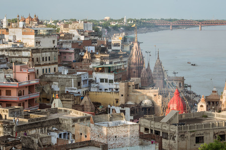 uttar: varanasi cityscape and Ganges river at sunset, India Stock Photo