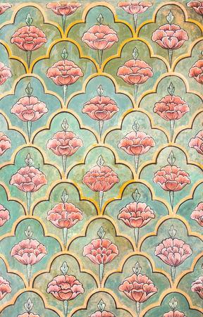 mughal: Mughal wall paintings at Jaipur city palace - Rajasthan, India