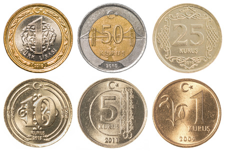 25 cents: Turkish Lira coins collection set isolaten on white background
