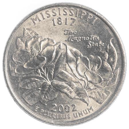 unum: Mississippi state quarter coin isolated on white background