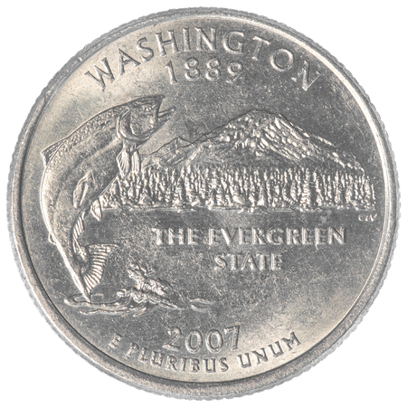 25 cents: washington state quarter coin isolated on white background