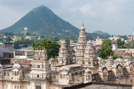 dome of hindu temple: Sri Raghunath Swamy temple in Pushkar, Rajasthan - India Stock Photo