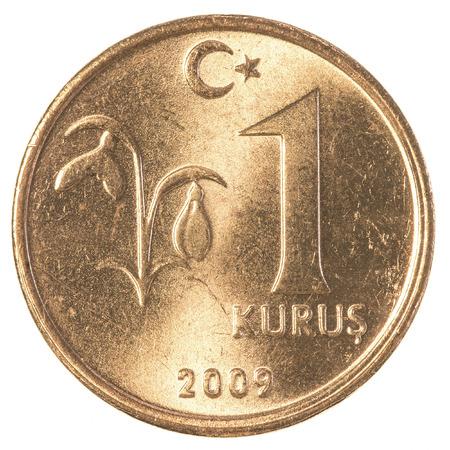 tl: 1 turkish kurus coin isolated on white background Stock Photo