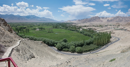 gompa: panorama of the Indus river Valley as seen from Shey gompa - Ladakh, Jammu and Kashmir - India