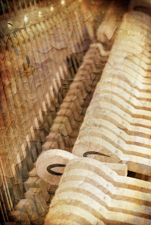 classical mechanics: artistic painting of a piano grunge style
