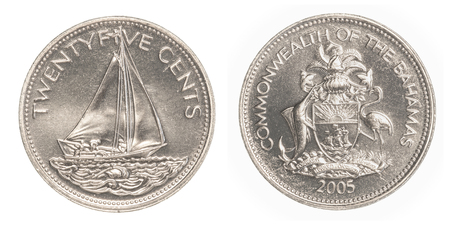 25 cents: 25 bahamian cent coin isolated on white background