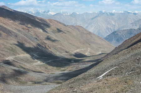 view from Khardung la Pass, the highest motorable road in the world. Jammu and Kashmir - India.