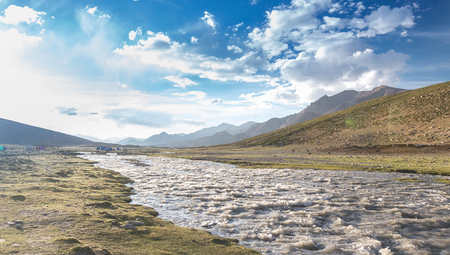 kashmir: nimaling camp site. Markha Valley trek, Ladakh, Jammu & Kashmir, India.