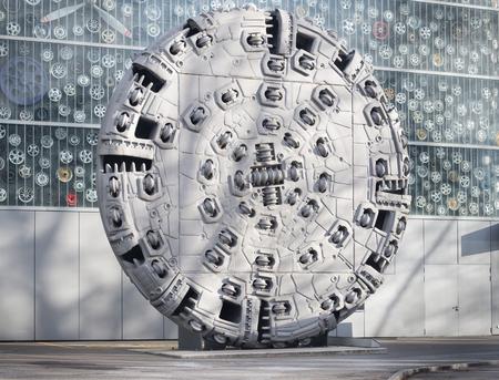 display machine: tunnel boring machine head on display at the Swiss transportation museum - Lucerne, Switzerland