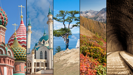 travel collage: Russia travel collage depicting Russias destinetion highlights - St basils cathedral in moscow, Qolsharif mosque in Kazan, Olkhon island in lake Baikal,the Arshan mountains and the Transsiberian railway