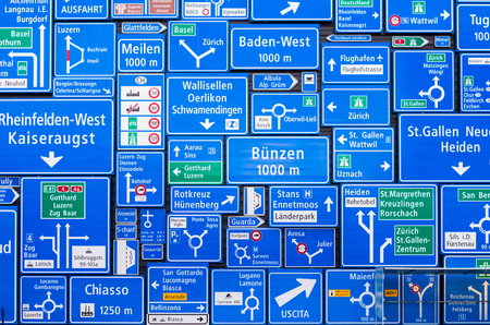 destinations: road signs collage of destinations in Switzerland