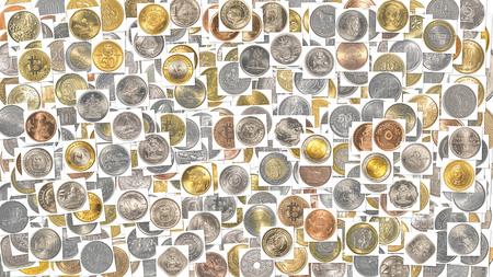numismatics: world coins background texture Stock Photo