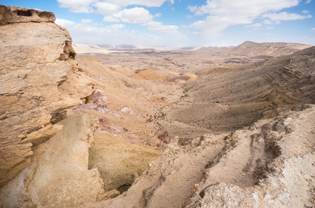 ascent: View of Makhtesh Gadol (Large crater) from its western tip at the top of Abrahams ascent - Negev, Israel Stock Photo
