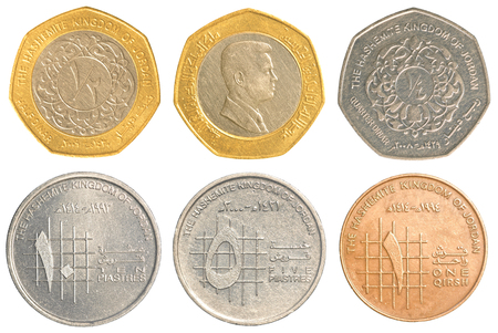 dinar: jordanian dinar coins collection isolated on white background