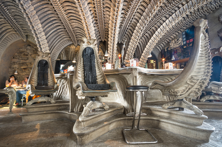 GRUYERES, SWITZERLAND - JANUARY 16, 2016: interior of HR Giger cafe in Gruyeres, themed along the lines of his biomechanical style as shown in the Alien films Editorial