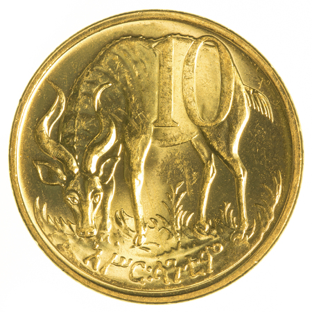 ethiopian: 10 ethiopian santim coin isolated on white background Stock Photo