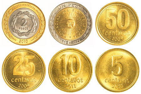 peso: argentine peso circulating coins collection isolated on white background Stock Photo