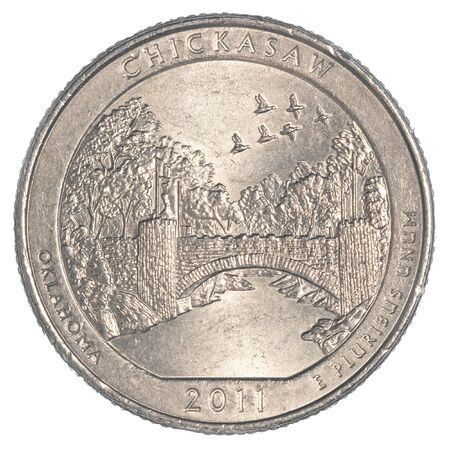 25 cents: The Chickasaw National Recreation Area Quarter coin isolated on white background Stock Photo