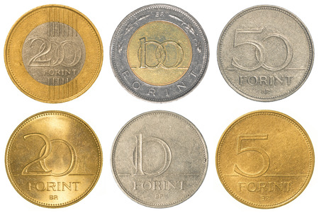 2 50: Hungarian forint coins collection set isolated on white background Stock Photo
