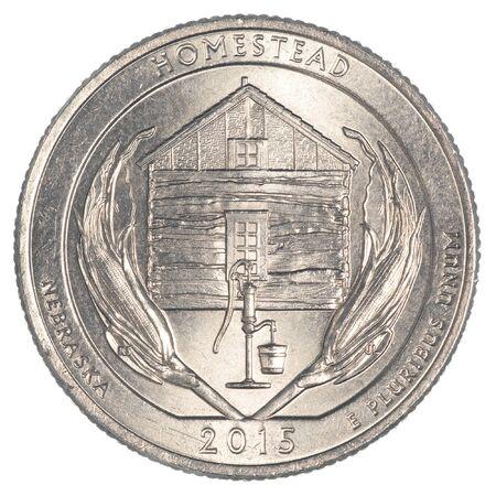 25 cents: Homestead National Monument Quarter coin isolated on white background