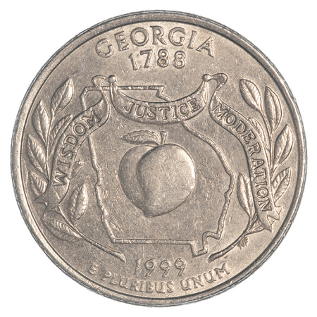 25 cents: Georgia State Quarter coin isolated on white background