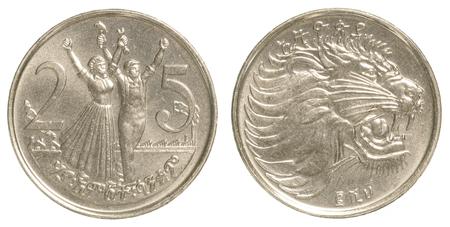 ethiopian: 25 ethiopian santim coin isolated on white background