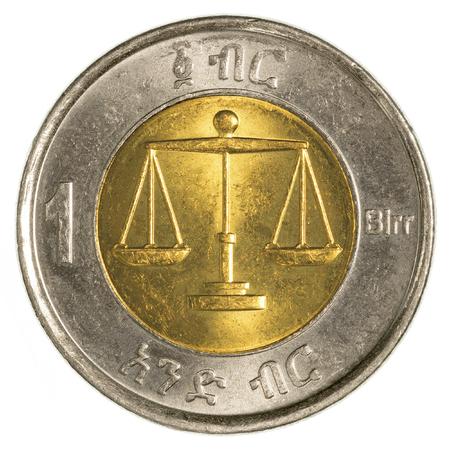 ethiopian: 1 ethiopian birr coin isolated on white background Stock Photo