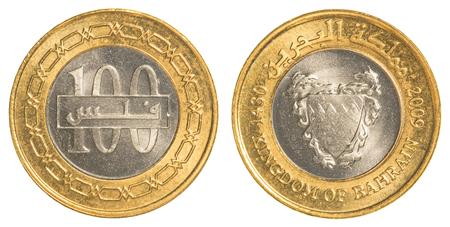dinar: 100 Bahraini dinar coin isolated on white background