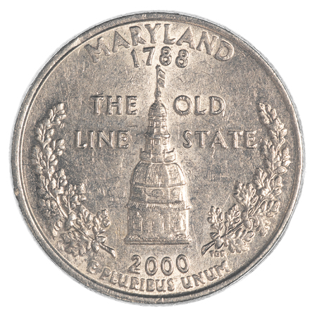 25 cents: Maryland State Quarter coin isolated on white background Stock Photo