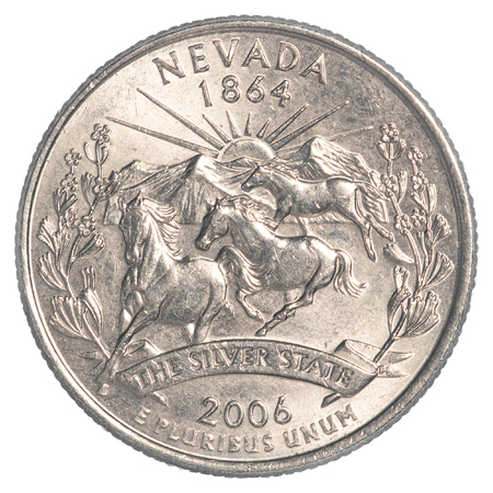 25 cents: Nevada State Quarter coin isolated on white background Stock Photo