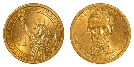 abraham: Abraham Lincoln Golden one dollar coin isolated on white background