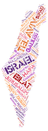 Israel map silhouette word cloud with most popular travel destinations