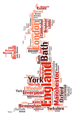 England Map silhouette word cloud with most popular travel destinations