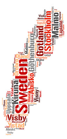 Sweden map silhouette word cloud with most popular travel destinations Stock Photo