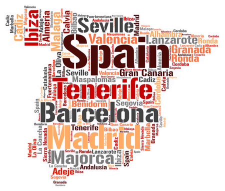 Spanien Karte Silhouette Wort Wolke mit den meisten beliebten Reisezielen