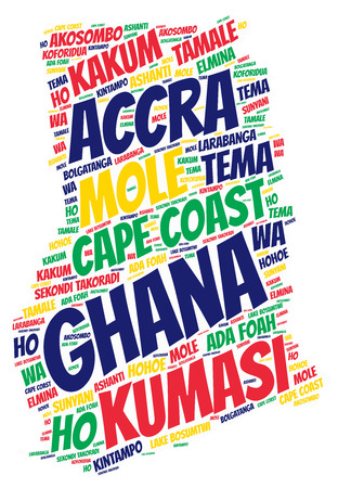 Ghana map silhouette word cloud with most popular travel destinations Stock Photo