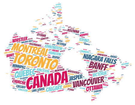 Canada Map silhouette word cloud with most popular travel destinations Stock Photo