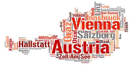 Austria Map silhouette word cloud with most popular travel destinations