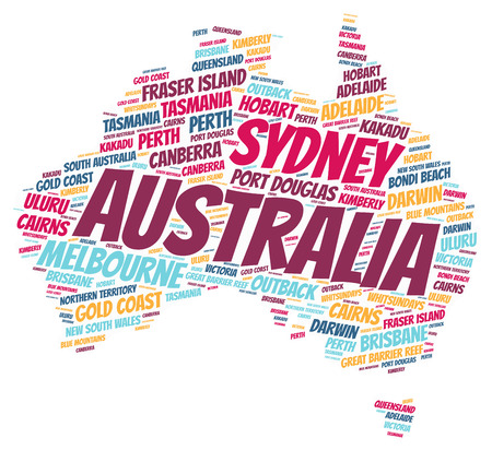 Australia Map silhouette word cloud with most popular travel destinations Stock Photo