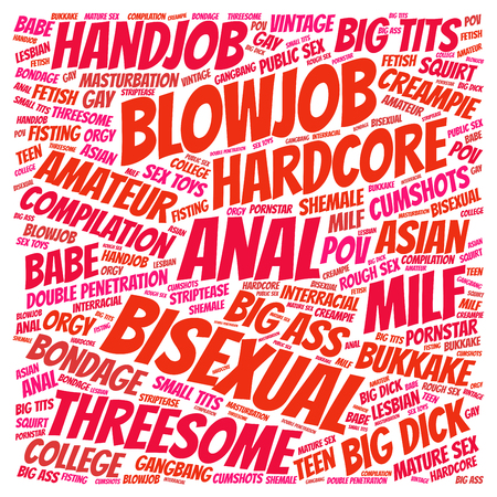 popular Porn categories word cloud isolated on white background