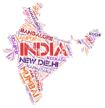 India map silhouette word cloud with most popular travel destinations Stock Photo